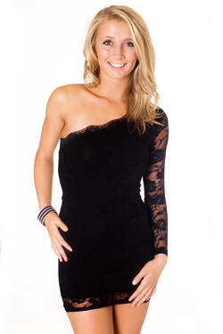 Black Lace Dress on Black One Shoulder Flower Lace Dress   Groovyjeans